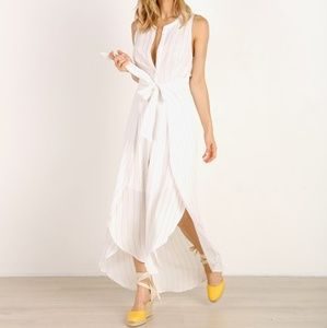 ASTR THE LABEL Arya wrap dress white stripe 0828